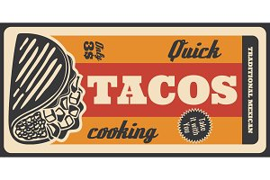 Tacos Mexican fastfood, retro poster