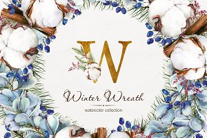Watercolor Winter Wreaths | Clipart