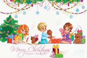 Christmas clipart set with cute kids