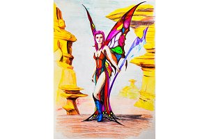 Girl elf with butterfly wings and ax