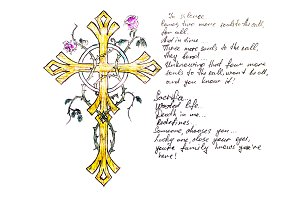Golden cross entwined with a spiny