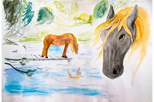 Horses at the watering, drawing