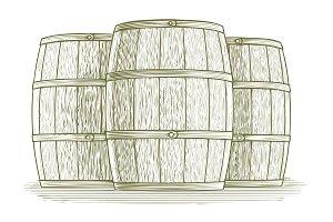 Woodcut Barrel Set