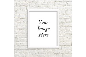 White Frame Photo Mockup Brick