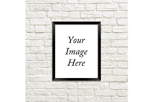 Black Frame Photo Mockup Brick