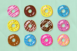 Vector doughnut illustration set