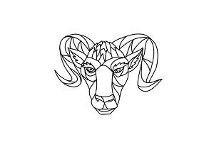 Bighorn Sheep Ram Mosaic Black and W