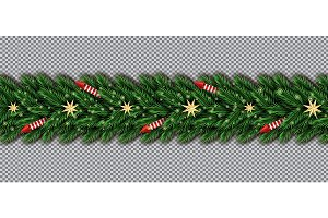 Border with Christmas Tree Branches