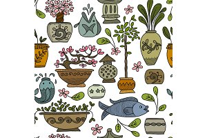 Asian garden with plants in ceramic