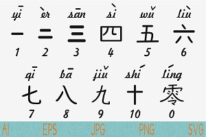 Chinese characters svg, numbers