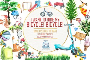 Bicycle and Park Watercolor Clipart