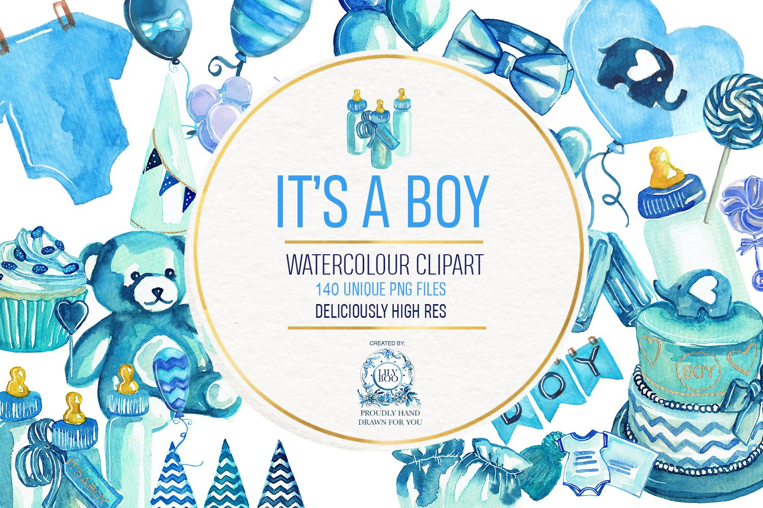 Baby Shower - Boys PNG Clipart ~ Illustrations ~ Creative ...