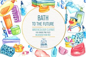 Baby Bath Time Watercolor Clipart