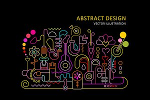 Abstract Design Neon vector poster