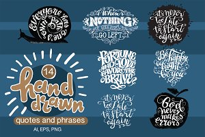 14 hand drawn quotes and phrases