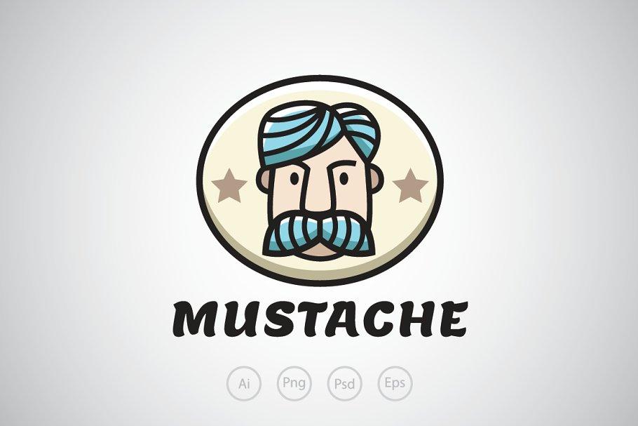 fbaa31de59e Old Man with Blue Mustache Logo ~ Logo Templates ~ Creative Market