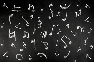 musical notes on a board
