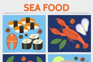 Flat seafood square concept