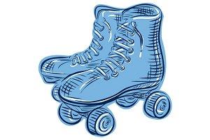 Roller Skates Vintage Etching