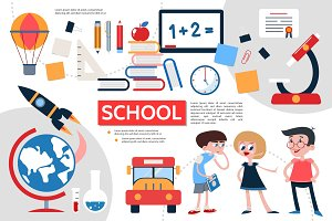 Flat school infographic concept