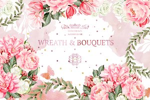45 Watercolor Wreath&Bouquets