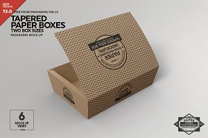 Paper Tapered Takeout Boxes Mockup
