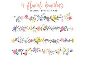 Floral borders clip art, vector+PNG