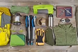 Organized Hiking Gear on Aged Wood