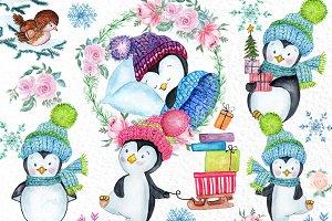 Cute Watercolour Penguins clipart