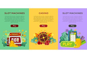 Set of Gambling Vector Banners In
