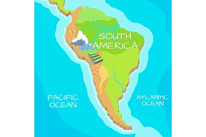 South America Map with Natural