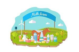 Milk Farm Concept Banner Vector Flat