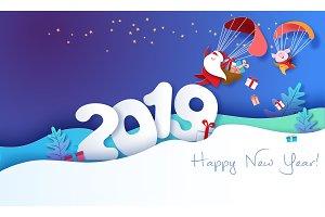 2019 New Year design card with Santa
