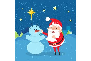 Santa Claus near Snowman. Winter