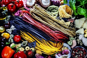 Italian ingredients - pasta, vegetab