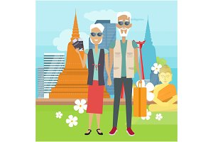 Travel in Old Age Vector Concept in