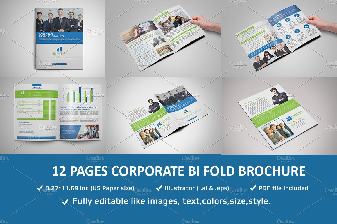 12 Pages Corporate Brochure Template ~ Brochure Templates ~ Creative ...