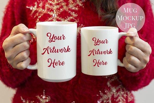 2 Mug Mockup - Christmas