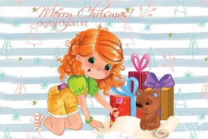 Cute girl gifts Christmas clipart