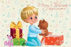 Cute boy gifts Christmas clipart