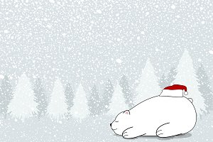 Christmas card design of white bear