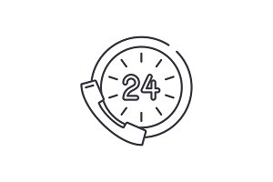 24 hour communication line icon