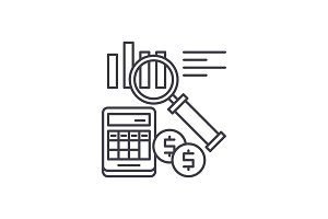 Accounting line icon concept