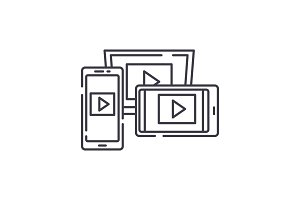 Adaptive video design line icon
