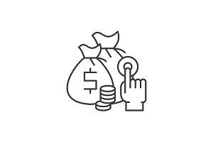 Affiliate sales line icon concept