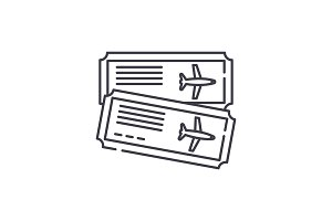 Airline tickets line icon concept