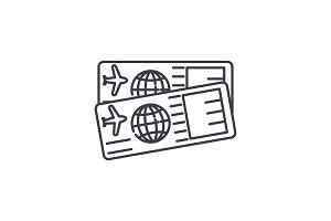 Airplane tickets line icon concept