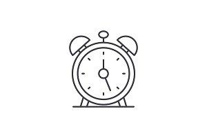 Alarm clock line icon concept. Alarm