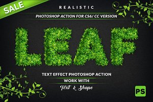 Leaf Text Effect Photoshop Action