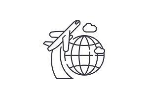 Around the world line icon concept